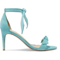 Alexandre Birman Alexandre Birman - Clarita Bow-embellished Suede... (1 030 BGN) ❤ liked on Polyvore featuring shoes, sandals, monk-strap shoes, strap sandals, bow shoes, strappy sandals and sky blue sandals
