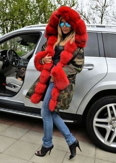Fur lined parka, red dyed fox fur & camo