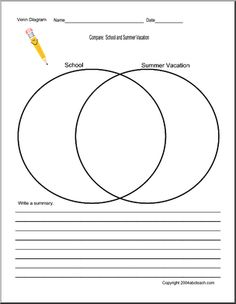 venn diagrams  circles and templates on pinterestvenn diagram   school and summer vacation