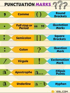 Punctuation Marks in English   List, Names & Examples - 7 E S L