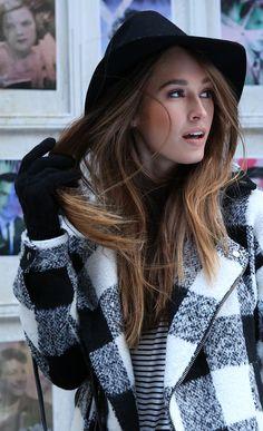 black hat + plaid jacket