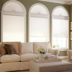 How do I match my living room curtains? - Check Out THE PIC for Various Ideas for Living Room Window Treatments. Cellular Shades, Decor, Blackout Shades, Skylight Shade, Arched Windows, Arched Window Coverings, Custom Shades, Arched Window Treatments, Home Decor