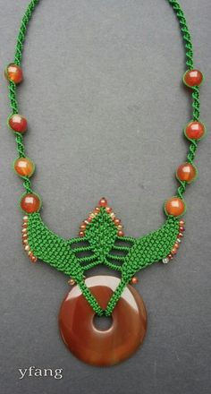 Green macrame necklace with carnelian