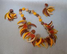 Vintage Fringe Necklace & Clip Earrings West Germany