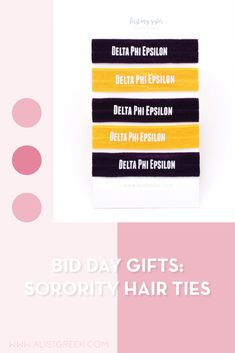 Sorority hair ties are the easiest gift for any celebration: Recruitment, Bid Day, Back to School & Big/Little. Delta Phi Epsilon Gifts   Delta Phi Epsilon Bid Day   DPhiE Hair Ties   Delta Phi Epsilon Recruitment   Sorority Bid Day   Sorority Recruitment   Sorority Hair Tie Gifts   Sorority College Gift   Sorority New Member Gift Ideas #BidDayGifts #SororityHairTies Delta Chi, Delta Phi Epsilon, Kappa Alpha Theta, Alpha Chi Omega, College Sorority, Sorority Bid Day, Sorority Recruitment, Bid Day Gifts, Bid Day Themes