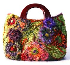 """freeform floral bag by Prudence Mapstone using techniques from her """"Never To Many Handbags"""" book - photo only"""
