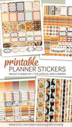 Halloween Weekly Planner Stickers for Erin Condren Planner. This printable planner stickers are available in my shop - click to see the product!