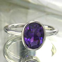Large Purple Amethyst Sterling Silver Ring  10mm x by ChadaSoph, $98.00
