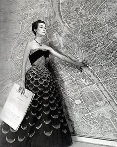 Paris map: Mary Jane Russell in Christian Dior (1951) by Louise Dahl-Wolfe
