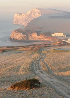 The Tennyson Trail down to Freshwater Bay & up to the Tennyson Monument, Isle of Wight, England . in the Frost . British Seaside, British Isles, Isle Of Wight England, Cool Places To Visit, Places To Go, Prince, Amazing, Awesome, Wonders Of The World