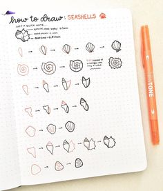 Lovely The Bullet journal is drawing of that concept, seashell drawing tutorial, seashell doodles. How To Bullet Journal, Bullet Journal Inspiration, Planner Doodles, Doodle Drawings, Journal Pages, Journals, Drawing Tips, Drawing Journal, Drawing Ideas