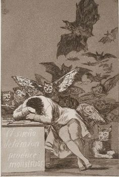 An image of The sleep of reason produces monsters by Francisco de Goya Y Lucientes