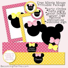 Minnie Mouse Party decor - backdrop, food table, activities, favors. Matching Minnie Mouse party printable package.