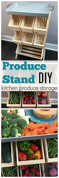 Farmhouse style produce storage. Produce stand DIY tutorial with farmer's market veggie ideas! ad #WalmartFarmersMarket @walmart @sabra