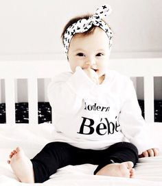 She looks absolutely perfect and our Modern Bebe sweater, don't forget to get a matching Modern Babe sweater for yourself! Baby Girl Fashion, Toddler Fashion, Kids Fashion, Mommy And Me Outfits, Boy Outfits, Baby Clothes Canada, Bebe Shirts, Baby Pullover, Baby Leggings