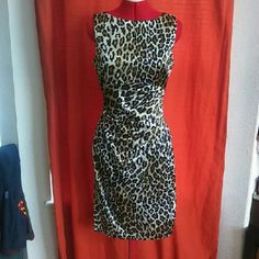 Cache leopard print sheath dress-NWOT This dress is Brans new without tags. I ship quick and lve REASONABLE offers. Smoke and pet free. ❌NO TRADES, NO HOLDS, POSH RULES ONLY❌ Cache Dresses
