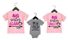 Find Personalized Big Sister Again Big Sister Finally New Crew Matching Sibling Shirts online. Shop the latest collection of Personalized Big Sister Again Big Sister Finally New Crew Matching Sibling Shirts from the popular stores - all in one Sibling Shirts, Sister Shirts, Baby Shirts, Family Shirts, Crew Shirt, T Shirt, Baseball Mom Shirts, Personalized Shirts, Shirt Shop