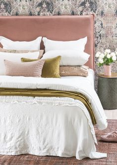 Rabat white linen bedspread with Floralie comforter, Fronzolo olive throw, Mateo olive cushion, Lilypad dusky pink cushion, Orlare old rose headboard and Cigna dusky pink pillowcases Dusky Pink Bedroom, Rose Bedroom, Pink Bedrooms, Master Bedroom, Bedroom Color Schemes, Bedroom Colors, Bedroom Decor, Bedroom Inspo, Bedroom Ideas