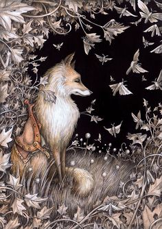 Adam Oehlers is an illustrator from Norwich, England. His magical, detailed drawings tell both known and unknown fantastic tales. Fuchs Illustration, Art And Illustration, Art Fox, Art Fantaisiste, Desenho Tattoo, Fairytale Art, Arte Popular, Woodland Creatures, Pics Art
