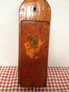 1940s Vintage Handmade Wood Knife holder- Duck water decal R.V, camping, glamping by rummagechicboutique on Etsy