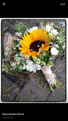 My sunflower garden style wedding bouquet.