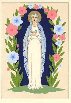 Madonna | Pochoir Print Holy Cards by Giovanni Meschini | Sacred Art Pilgrim