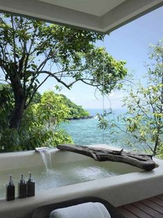 I think we have just fallen in love. Not only is the view amazing but the bathroom is perfect. And we love what they have done with the wooden log.