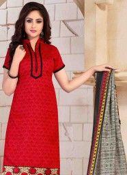 Delightful Red Banglori Silk Churidar Salwar Kameez