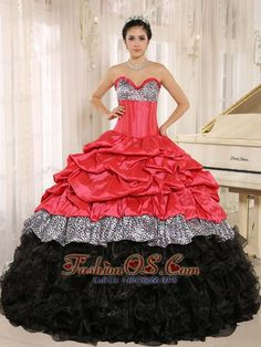 Watermelon and Black Sweetheart Ruffles Zebra Quinceanera Dress With Floor-length In Salta  http://www.fashionos.com  customer made quinceanera dress | organza quinceanera dress |