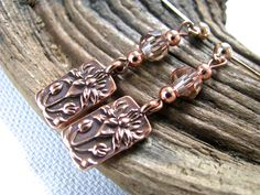 Copper Lotus and Crystal Long Dangly Earrings - pinned by pin4etsy.com