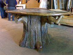 Base de mesa imitando a tronco de árbol (poliuretano). Jose Manuel Dana- Escultor: Elementos para Interiorismo