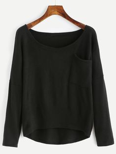 Shop Black Pocket High Low Sweater online. SheIn offers Black Pocket High Low Sweater & more to fit your fashionable needs.