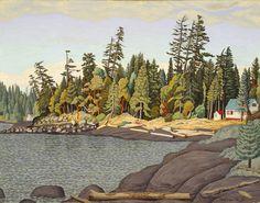 EJ Hughes, Edge of the Wood, Gabriola Island Canadian Painters, Canadian Artists, Watercolor Landscape Paintings, Landscape Art, Paint Designs, Impressionist, Art Museum, Folk Art, Art Prints