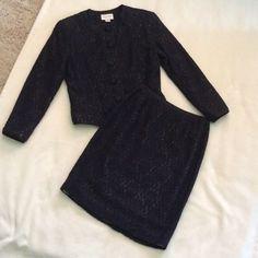 FIRM‼️ LOWEST ‼️Emanuel Ungaro suit Beautiful Emanuel Ungaro navy blue floral lace over beige lining. Emanuel Ungaro Skirts Skirt Sets