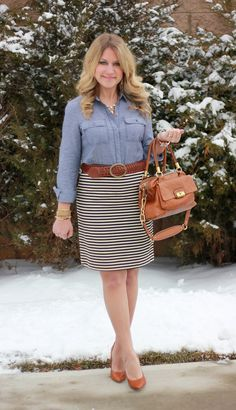 jean shirt and striped skirt