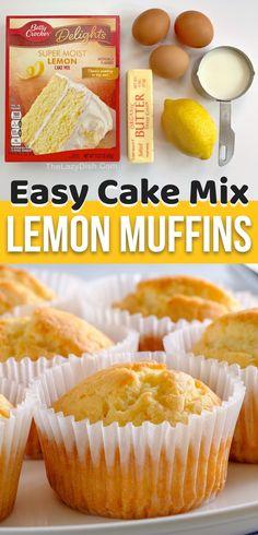 Cake Mix Lemon Muffins (Quick & Easy!) Lemon Muffins, Cake Mix Muffins, Cake Mix Cookies, Cupcakes, Jumbo Muffins, Coffee Cake Muffins, Box Cake Mix, Lemon Recipes, Sweet Recipes