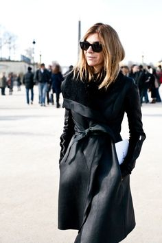 Carine Roitfeld in a leather trench coat