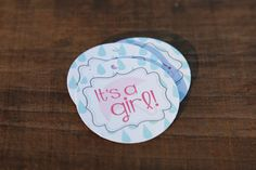 Its A Girl Umbrella Shower Tag, Perfect for Baby Showers, Umbrella, Adorable Favors For Baby Shower, Baby Shower Tags, Baby Showers, Wine Bottle Labels, Retirement Parties, Card Stock, Favors, Girly, Blue Rain, Pink Blue