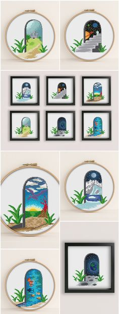 Portals to different dimensions cross stitch patterns Space, Dinosaurs, Castles, the Ocean, the Arctic and the Moon #crossstitch #crossstitchpattern