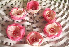 Pink fabric flower bobby pin, flower girl accessories, hair pin, flower for hair. $6.00, via Etsy.