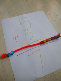 Math help - pipe cleaner and beads GREAT kinetic method of teaching math. Kindergarten Teachers, Math Classroom, Teaching Math, Teaching Babies, Future Classroom, Teaching Ideas, Math Resources, Math Activities, Math Addition