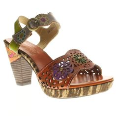 The patterned sole...the laser cut detailing. We love this sandal from the ankle strap down. #SpringStep