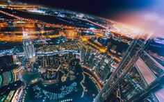 Dubai, tilt-shift, skyscrapers, UAE, nightscape, United Arab Emirates