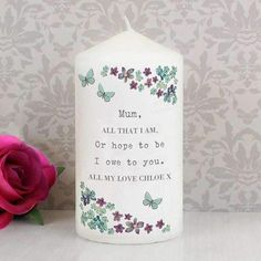 Personalise this Candle with a message up to 5 lines of personalisation. Each line can be personalised with up to 20 characters per line. Lines 2 and 5 will be in UPPER CASE.Candle is presented in organza bag.Approximately 58 hours burn timeMeasurements Height: 12.6 CM Width: 6.9 CM Depth: 6.9 CM IN STOCK Personalised