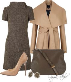 2012 Fall Fashion: Chic Work Looks We Love - Work Dresses - Ideas of Work Dresses - Sweater dress nude pumps and camel colored outerwear fall inspirations for work. Style Work, Mode Style, Style Me, Mode Outfits, Fashion Outfits, Womens Fashion, School Outfits, Petite Fashion, Curvy Fashion