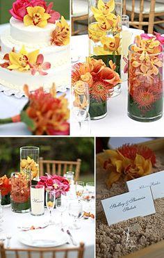 hawaiian Wedding Favors | Wedding Reception Floral Arrangements on Tropical Hawaii Wedding ...