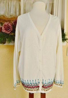 008e418989f BFA Classics Embellished Floral Border Sweater 2X Party Comfy Cute Pretty  Plus  BFAClassics  Cardigan