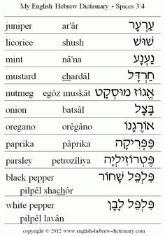 My English Hebrew Dictionary - Food - Spices 3 Biblical Hebrew, Hebrew Words, English To Hebrew, Learn English, Hebrew Lexicon, Israel, Bible Mapping, Learning A Second Language, Hebrew School
