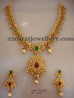 Jewellery Designs: 73 Grams Gemstone Pachi Necklace