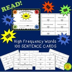 Free High Frequency Words in Sentences to Read and Write Reading Resources, Reading Strategies, Reading Skills, Partner Reading, Student Reading, Sight Word Activities, Hands On Activities, Primary Classroom, Classroom Activities